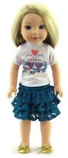 "Love Birds Top & Skirt Set fits 14.5"" American Girl Wellie Wishers Doll Clothes"