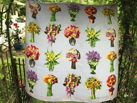 VTG Carlisle for Susan G. Komen Lavender Silk Scarf Square with Flower Bouquets