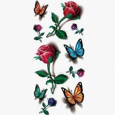 Flash Einmal Temporary Klebe Tattoo 3D Blume Rot Blau Grün Körper Body Geschenk