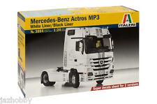 Italeri 3884 1/24 Model Truck Kit Mercedes-Benz Actros MP3 White/Black Liner