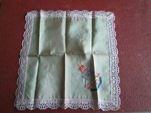 WW1 Royal Artillery Embroidered Silk Sweetheart Handkerchief. pale green