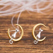 925 Silver Lovely Cat Kitty Golden Moon Post Stud Earrings For Women Jewelry