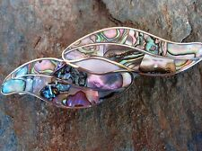 Abalone & MOP Inlay Alpaca Silver Hair Barrette Fair Trade Mexico New ab12