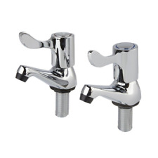 "Modern Lever Action Basin Sink Taps Pair Bathroom 1/2"" Hot & Cold Chrome Metal"