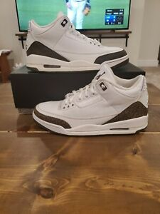 NIKE AIR JORDAN III 3 RETRO WHITE DARK MOCHA BROWN CHROME CEMENT 136064-122 Sz10