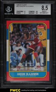 1986 Fleer Basketball Hakeem Olajuwon ROOKIE RC #82 BGS 8.5 NM-MT+