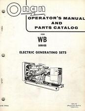 ONAN WB series ELECTRIC GENERATING SETS OPERATOR'S  PARTS  MANUAL 1974  948-0305