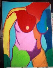 1960's Summer of Love Psychedelic colored torso Female Nude Sketch