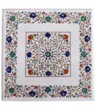 "24"" Marble coffee Table Top Inlay semi precious stones handmade Art decor"