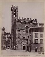 Florence Firenze Palazzo Del Podestà Italia Vintage Albumina Ca 1885