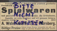 NÜRNBERG, Werbung 1903, Spiel-Waren Gelegenheits-Geschenke A. Wahnschaffe
