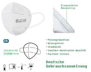 10 Stück FFP2 NR Maske Mundschutz Atemschutzmaske 5-lagig CE 0598 zertifiziert