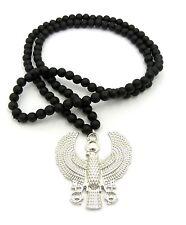 MEN HIP HOP Silver Horus Eagle Pendant, Wood Rosary Beads Chain Necklace RC1785R