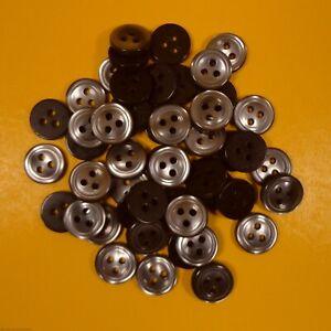 Charcoal/Grey - 3 Hole Plastic Buttons (10 grams per bag) (11mm Dia)