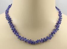 Tansanit Kette - Tansanit Tropfen Collier violett blaue Tansanit Pampel 46,5 cm