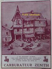 PUBLICITE ZENITH CARBURATEUR POUR VOITURE SIGNE ATO DE 1926 FRENCH AD PUB RARE