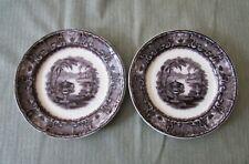 "2 Podmore Walker Pearl Stone Ware WASHINGTON VASE Flow Black 8.75"" Plates, 1840s"