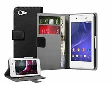 Wallet BLACK Leather Mobile Phone Accessories For Sony Xperia E3 experia