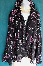 JENNIFER LLOYD Romantic Floral Accordion Pleat Blouse Laces Up Lace Trim Top 2X