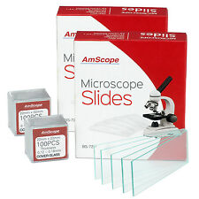 AmScope 144 Pre-Cleaned Blank Microscope Slides & 200 22x22mm Square Cover Glass
