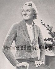 Vintage Knitting Pattern Lady's 1930s Cardigan/Jacket. Fitted Waist & Collar.