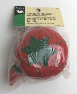 "2004 Dritz Vintage Tomato Pin Cushion 3"" with Strawberry Emery - NIP"