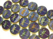 8 17mm Czech Glass Amethyst Purple Picasso Dragonfly Coin Beads
