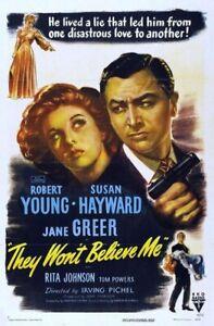 They Won't Believe Me - 1947 - Robert Young Susan Hayward Vintage Film Noir DVD