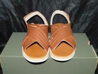 Timberland 10 NEW Brown Adley Shore Ankle Strap Sandals Leather Womens Flats