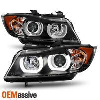 HID Xeon Fit 06-08 BMW E90 3-Series Sedan Black 3D LED Halo Projector Headlights