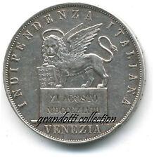 GOVERNO PROVVISORIO VENEZIA 5 LIRE 1848 MONETA RARA ARGENTO 1 TIPO