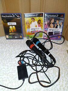 Sony Playstation PS2 Singstar Microphones With USB Connector + 3 Games Bundle