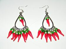 RED CHILI PEPPERS EARRINGS FILIGREE TEAR DROPS SILVER EAR WIRES MEXICAN FIESTA!