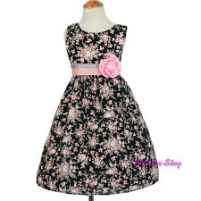 Black Pink Floral Pattern Flower Girl Cotton Spring Summer Dress Size 3T-6 SD010