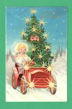 RARE 1914 CHRISTMAS FANTASY POSTCARD CHRISTKINDLE SANTA-TREE CANDLES JALOPY SNOW