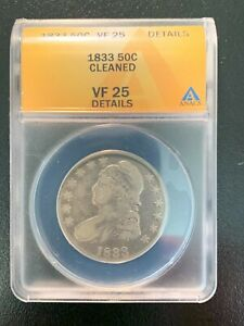 1833 CAPPED BUST US HALF DOLLAR ANACS VF25 DETAILS