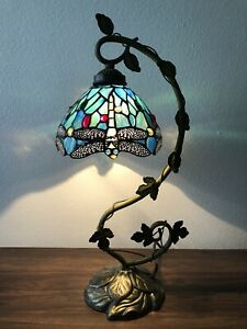 "Tiffany Style Table Lamp Dragonfly Green Blue Stained Glass Antique Vintage 21""H"