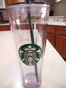 Starbucks Venti 24 oz Logo Cold drink Tumbler Clear Acrylic Cup & Straw new