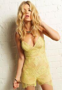 NWT $129 Bardot Evie Lace Playsuit Lace Cami Lemon Yellow Romper Size 10
