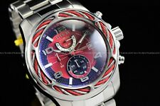 New Invicta Men's 53mm Bolt All Silver Red Dial Chronograph Quartz SS Watch