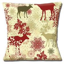Christmas Theme Cushion Cover 16x16 inch 40cm Stag Wildlife Snowflakes Multi