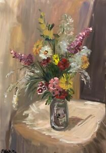 A3 size original oil painting floral still life art, roses, impressionist style