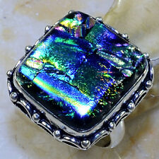 Handmade Sparkling Dichroic Glass 925 Sterling Silver Rings Size: 7.25 #P44810
