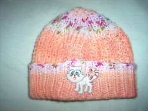 GIRLS PEACH & PINK CAT BEANIE STYLE  HAT AGE 4 - 6 YEARS