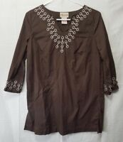 Toffee Apple Womens Small Blouse Cotton Tunic Top Brown 3/4 Sleeve Embroidery