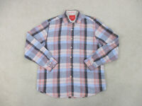Tommy Bahama Button Up Shirt Adult Large Blue Red Plaid Long Sleeve Mens B35