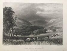 1836 Antique Print; VUE à Rhayader sur la rivière Wye après Copley Fielding