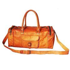 "24"" Handmade Vintage Leather Weekend Luggage Air Cabin Duffle Bag Gym Sports Bag"