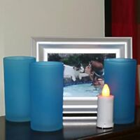 Inglow Blue 3 Pack  5 Inch Glass Votives - Flameless LED Votive Included