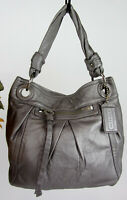 COACH F13416 Silver Parker Hippie Leather Handbag Carryall Hobo Tote